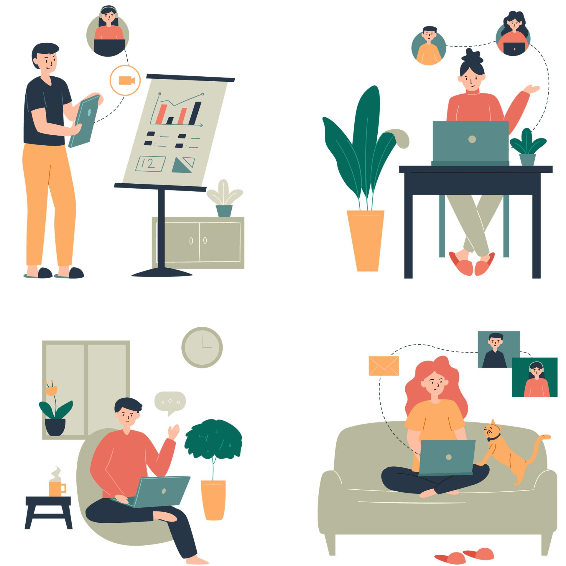 様々な場所で仕事をしている人達のイラスト