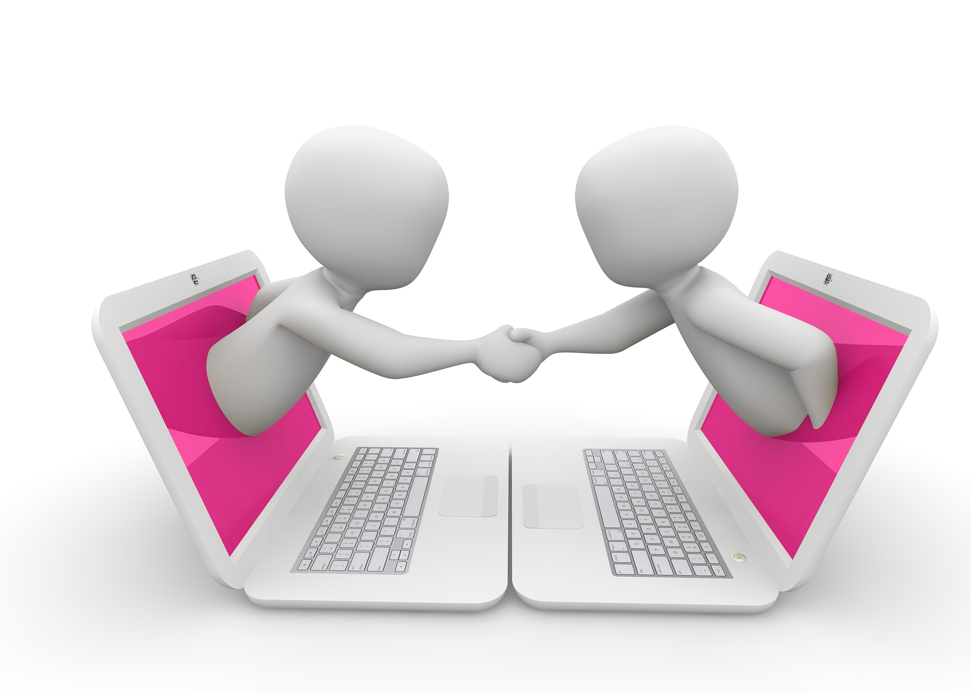 パソコン越しに握手を交わしている二人のイラスト