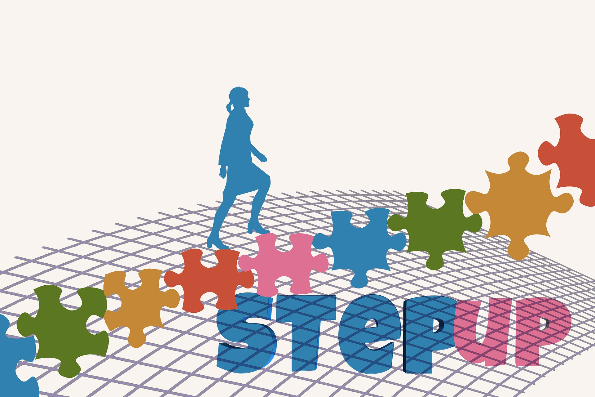 連なっているカラフルなジグゾーパズルの上を歩いているイラスト