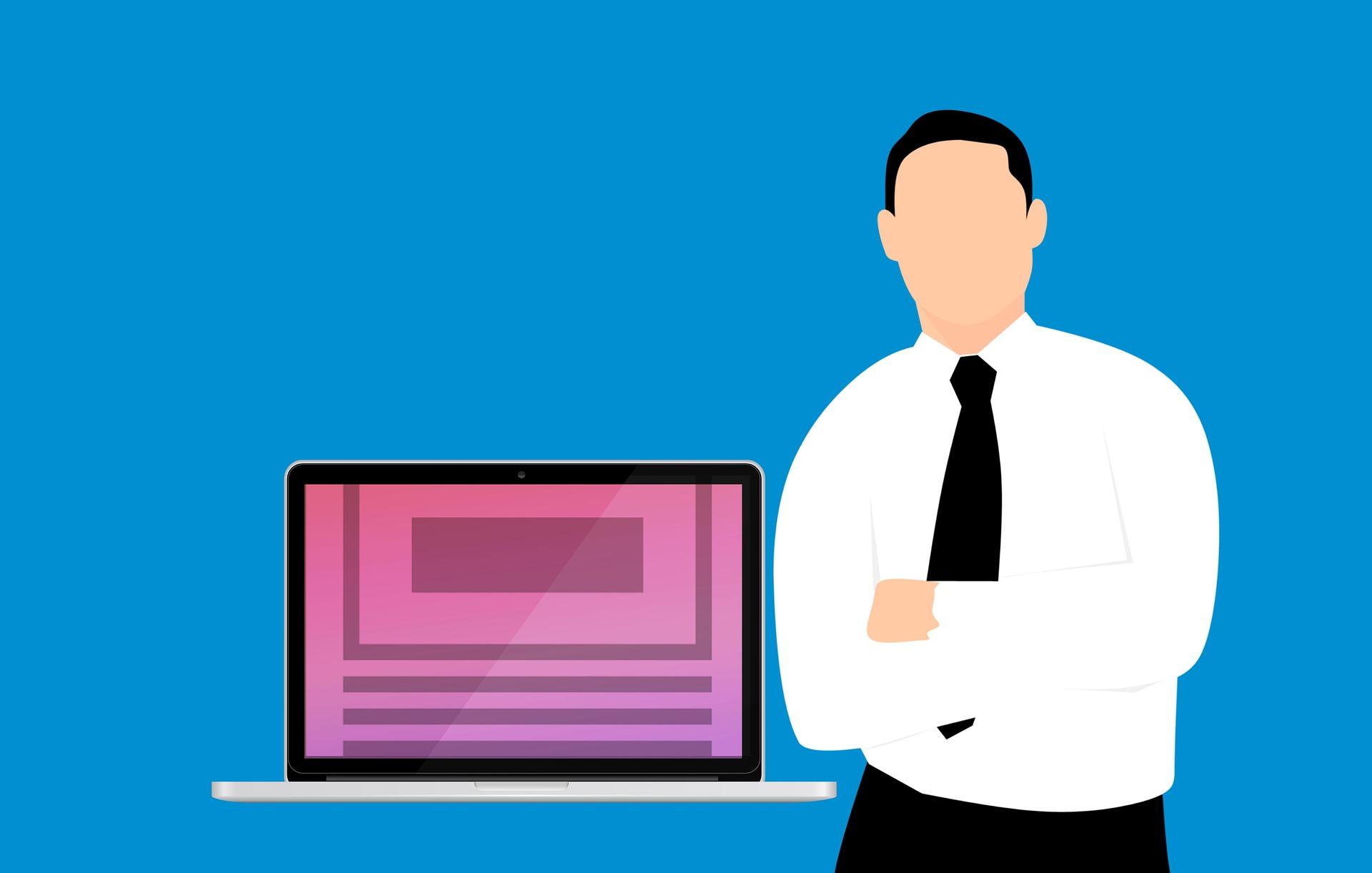 パソコンの横に男性が立っているイラスト